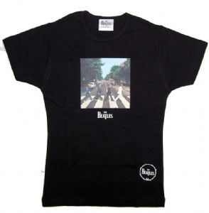 The Beatles Abbey Road Design Black Ladies Fitted T-Shirt